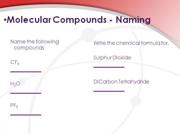 Molecular Compounds Chemistry Lesson – Naming Molecular Compounds Worksheet